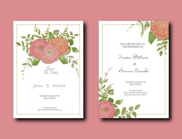 Carte d'invitation de mariage avec aquarelle de pivoine