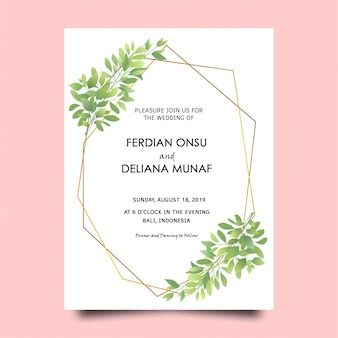 Carte d'invitation de mariage cadre feuille verte