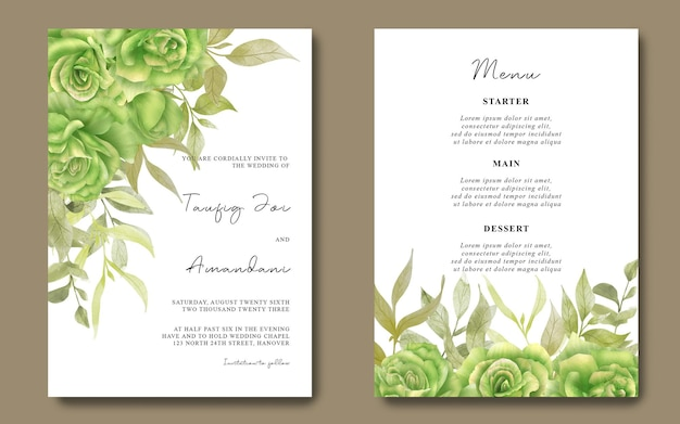 Carte d'invitation de mariage et carte de menu avec bouquet de roses vertes aquarelles