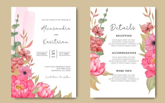 Carte d'invitation de mariage avec des fleurs aquarelles