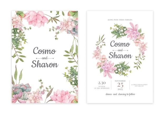 Carte d'invitation de mariage floral dessinée à la main