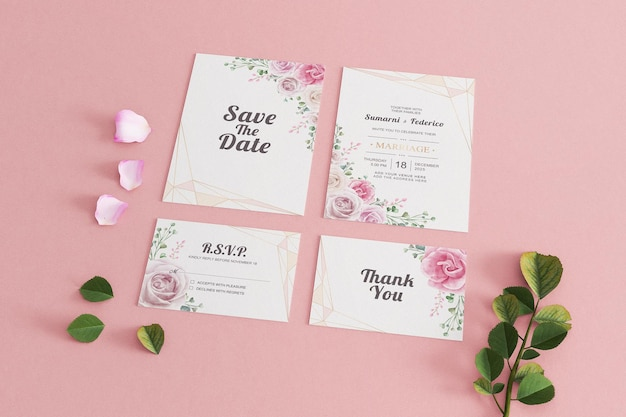 Carte invitation mariage maquette papeterie rose minimaliste