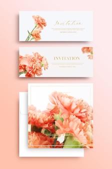 Carte d'invitation avec motif floral