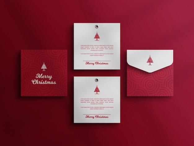Carte d'invitation de noël avec maquette d'enveloppe
