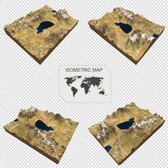 Carte isométrique terrain virtuel 3d pour infographieportrait de belle femme