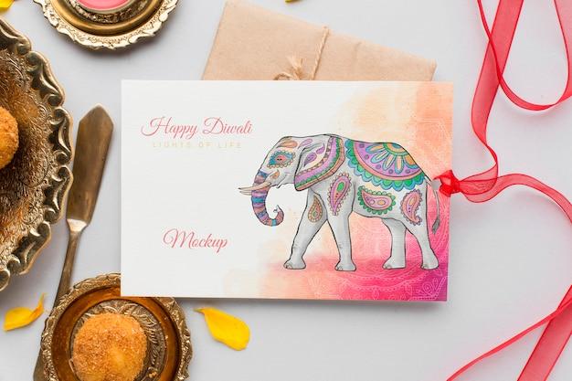 Carte de maquette de festival de diwali heureux vue de dessus avec ruban