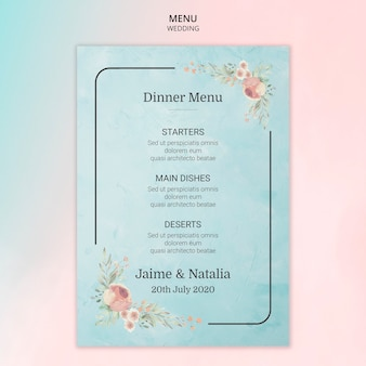 Carte de menu de mariage avec des fleurs