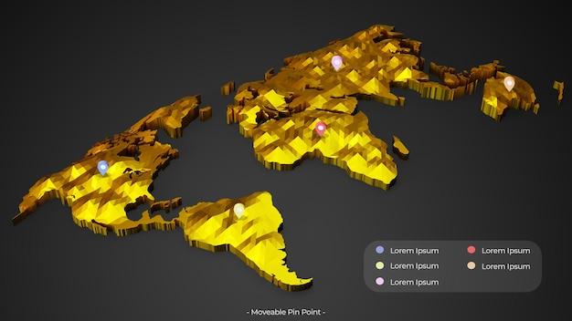 Carte d'or 3d avec point d'épingle mobile