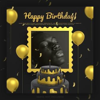 Carte d'or noir d'invitation de joyeux anniversaire élégante pour la maquette de modèle de publication de médias sociaux instagram