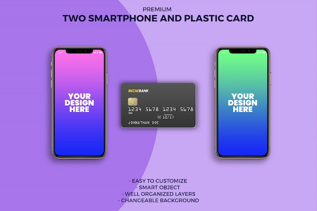Carte en plastique avec deux maquettes de smartphone