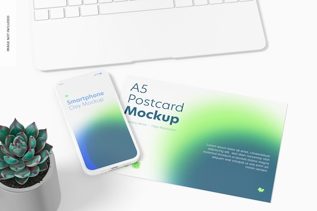 Carte postale a5 avec maquette de smartphone, vue de dessus