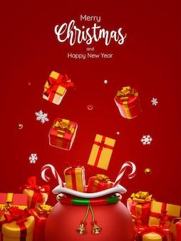 Carte postale illustration 3d du sac de noël parmi les cadeaux