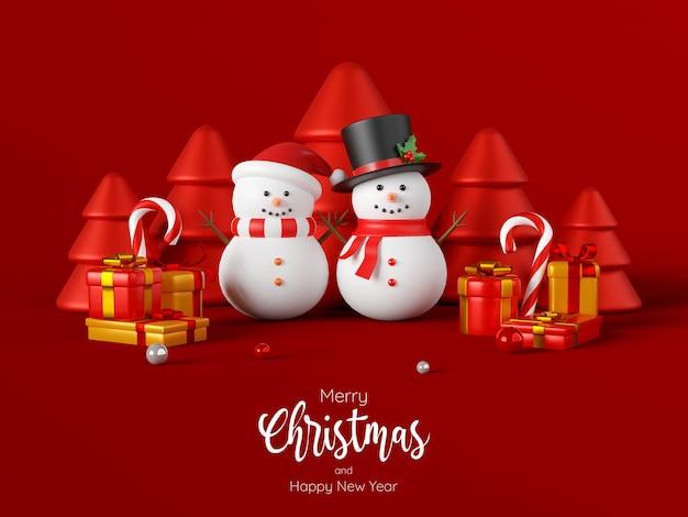 Carte postale de noël de bonhomme de neige avec des cadeaux de noël, illustration 3d