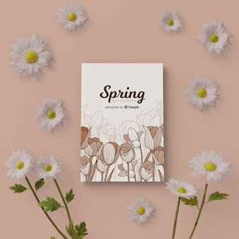 Carte de printemps avec cadre floral 3d