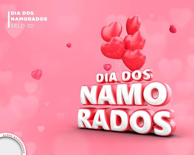 Carte saint valentin au brésil conception de modèle de rendu 3d
