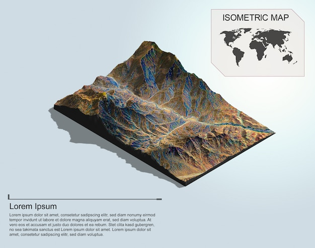 Carte virtuelle isométrique terrain 3d pour infographie.
