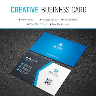 Carte de visite bleue élégante