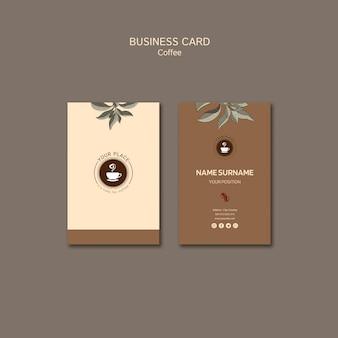 Carte de visite de boisson au café
