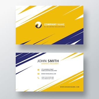Carte de visite jaune et bleue