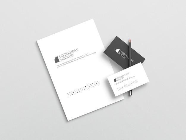 Carte de visite avec maquette de papier à en-tête