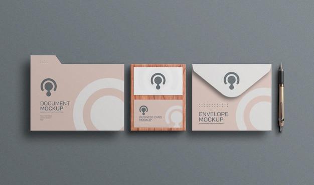 Carte de visite minimale avec maquette de papeterie d'enveloppe