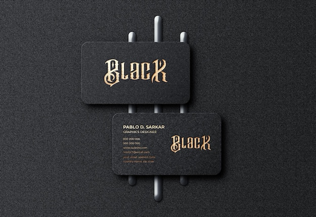 Carte de visite noire de luxe et maquette de logo premium psd