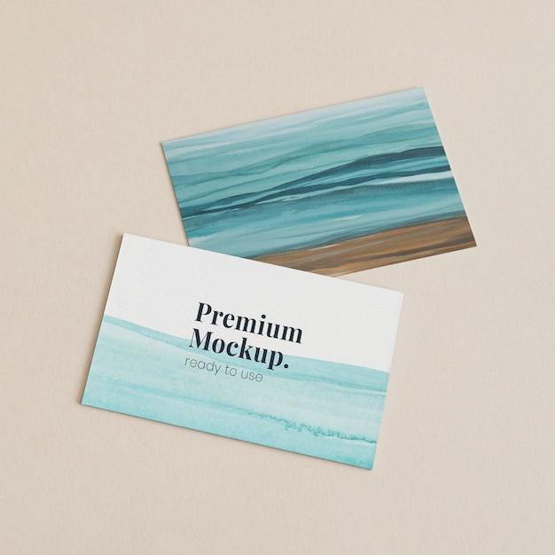 Carte de visite ombrée maquette psd bleu océan