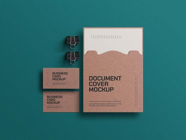 Carte de visite en papier artisanal avec maquette de document a4