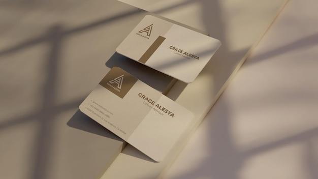 Carte de visite rendu 3d maquette gris blanc