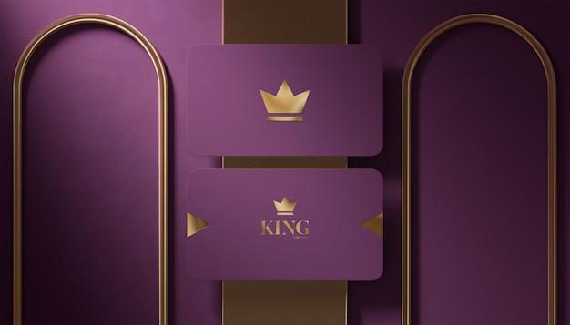Carte de visite violette de maquette de logo de luxe