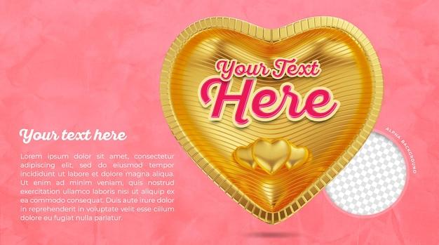 Carte de voeux fête des mères avec libellé et coeur