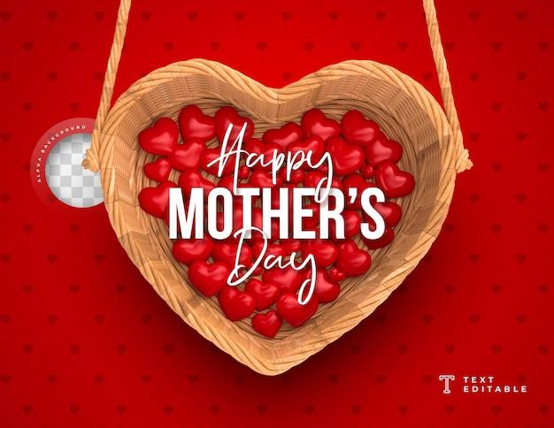 Carte de voeux fête des mères avec panier et coeurs rendu 3d
