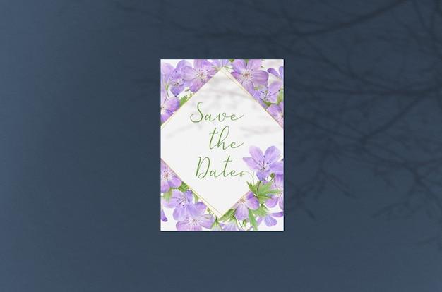 Carte de voeux moderne et élégante ou invitation de mariage mock up