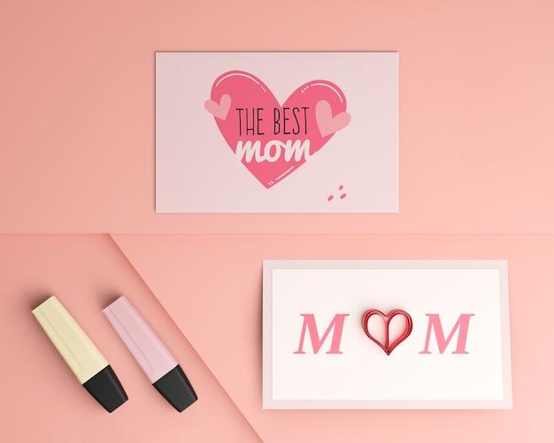 Cartes de fête des mères vue de dessus avec maquette