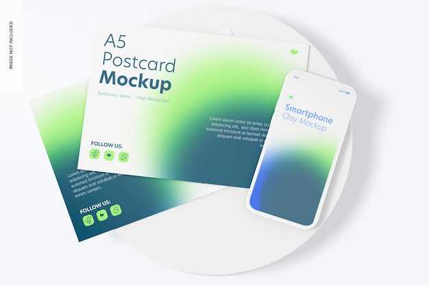 Cartes postales a5 avec maquette de smartphone