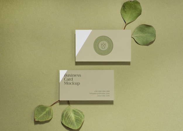 Cartes de visite à plat avec des feuilles