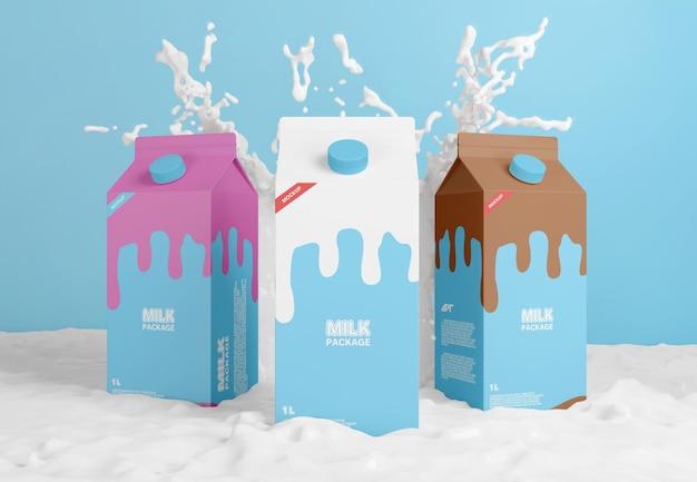 Carton de lait avec maquette d'éclaboussure