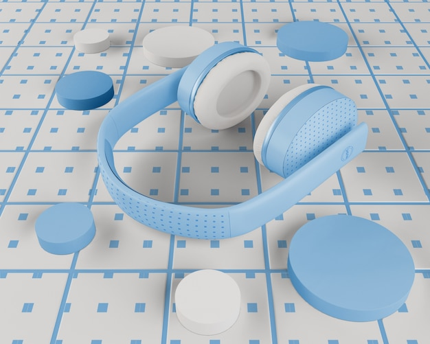 Casque bleu design minimaliste