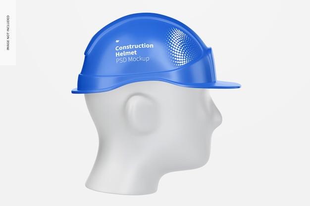 Casque de construction avec maquette de tête, vue de gauche