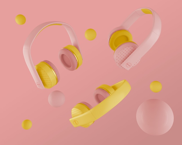 Casque avec écouteurs rose et jaune des années 80