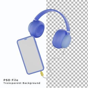 Casque d'illustration 3d avec smartphone espace blanc icône élément éléments actifs