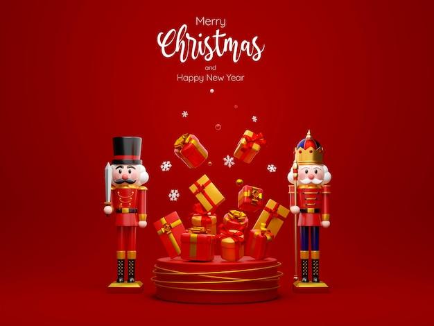 Casse-noisette avec podium de cadeaux de noël, joyeux noël et bonne année, illustration 3d