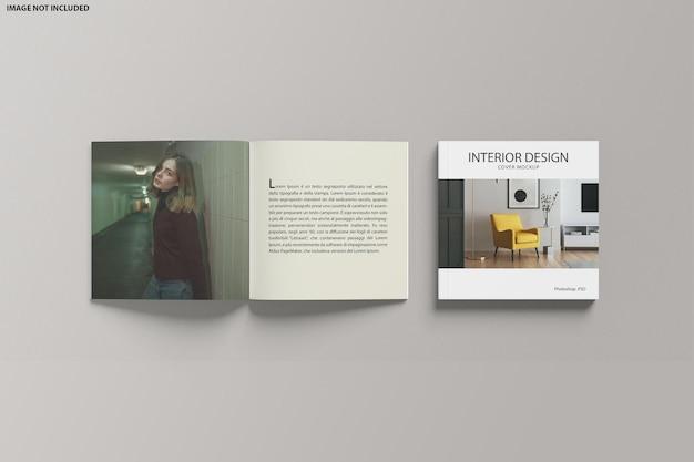 Catalogue carré ouvert et maquette de couverture