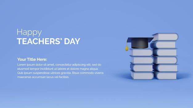 Célébration de la journée mondiale des enseignants avec élément d'éducation des livres de rendu 3d