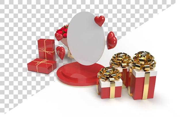 Célébration de scène de scène 3d romantique pour la saint-valentin avec cadeau