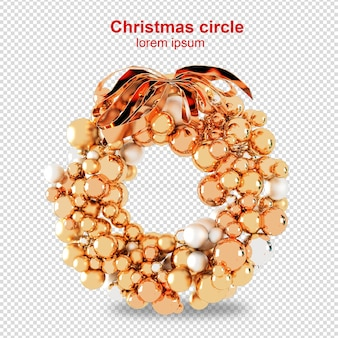 Cercles de noël en rendu 3d