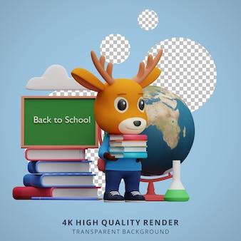 Cerf mignon de nouveau à l'illustration de caractère 3d de mascotte d'école tenant un livre