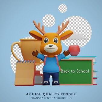 Cerf mignon retour à l'école mascotte personnage 3d illustration heureux