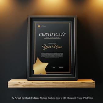 Certificat élégant de portrait a4 réaliste sur la vue de face de maquette modifiable de cadre moderne