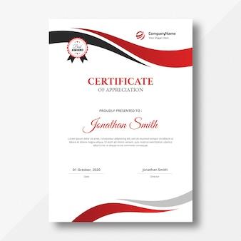 Certificat de vagues verticales rouges et noires